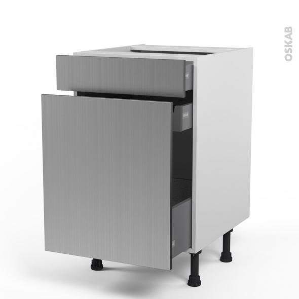 STILO Inox - Meuble range épice - 3 tiroirs - L50xH70xP58