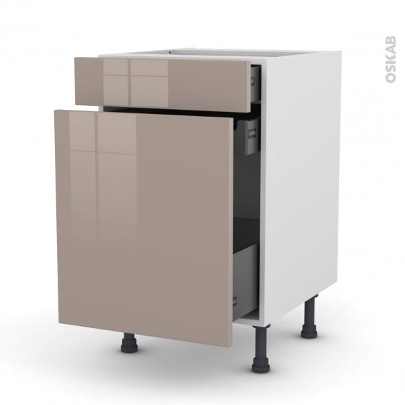 Meuble de cuisine - Range épice - KERIA Moka - 3 tiroirs - L50 x H70 x P58 cm
