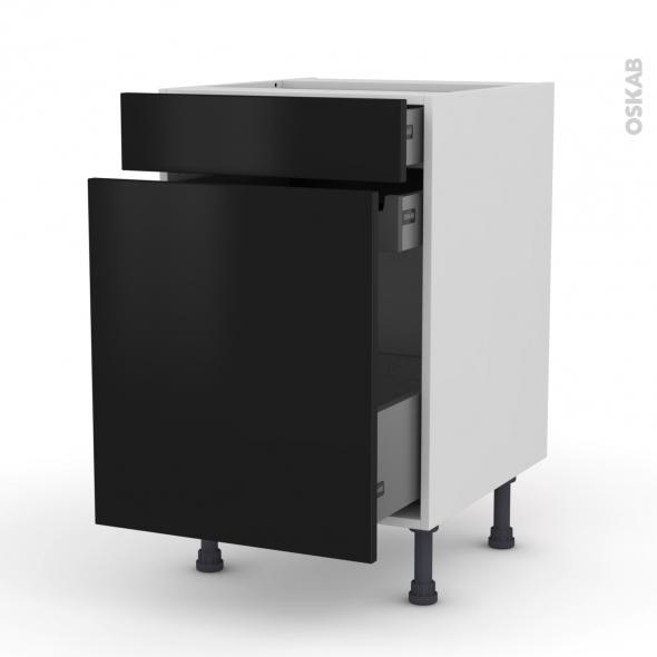 Meuble de cuisine - Range épice - GINKO Noir - 3 tiroirs - L50 x H70 x P58 cm