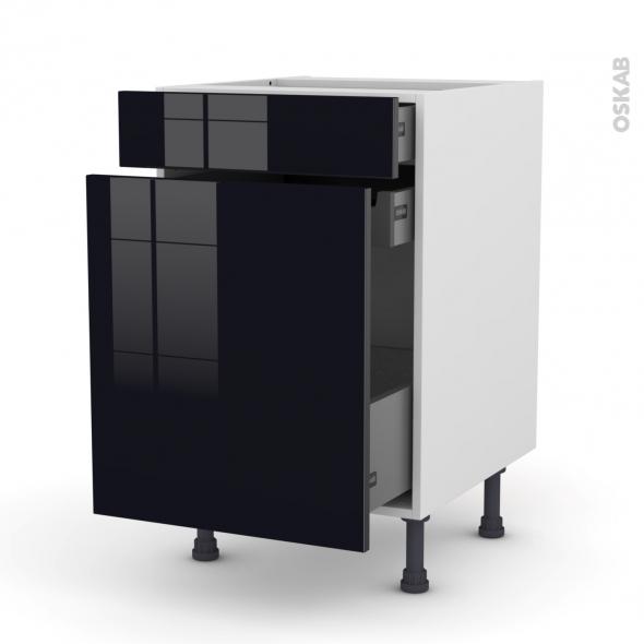 Meuble de cuisine - Range épice - KERIA Noir - 3 tiroirs - L50 x H70 x P58 cm