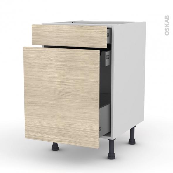 Meuble de cuisine - Range épice - STILO Noyer Blanchi - 3 tiroirs - L50 x H70 x P58 cm