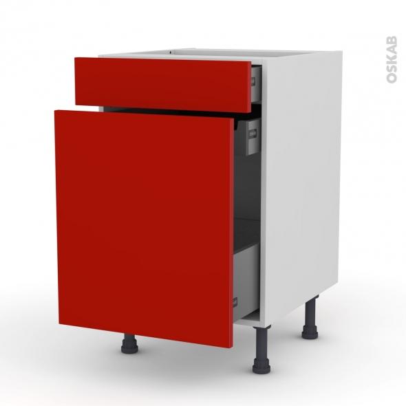 GINKO Rouge - Meuble range épice - 3 tiroirs - L50xH70xP58