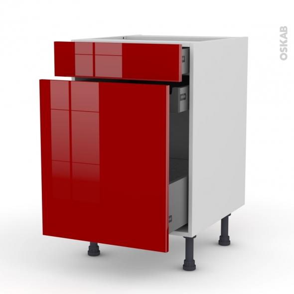 Meuble de cuisine - Range épice - STECIA Rouge - 3 tiroirs - L50 x H70 x P58 cm