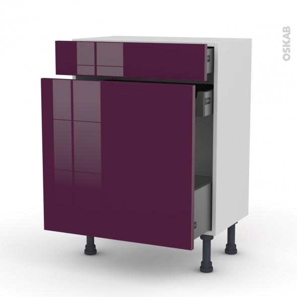 Meuble de cuisine - Range épice - KERIA Aubergine - 3 tiroirs - L60 x H70 x P37 cm