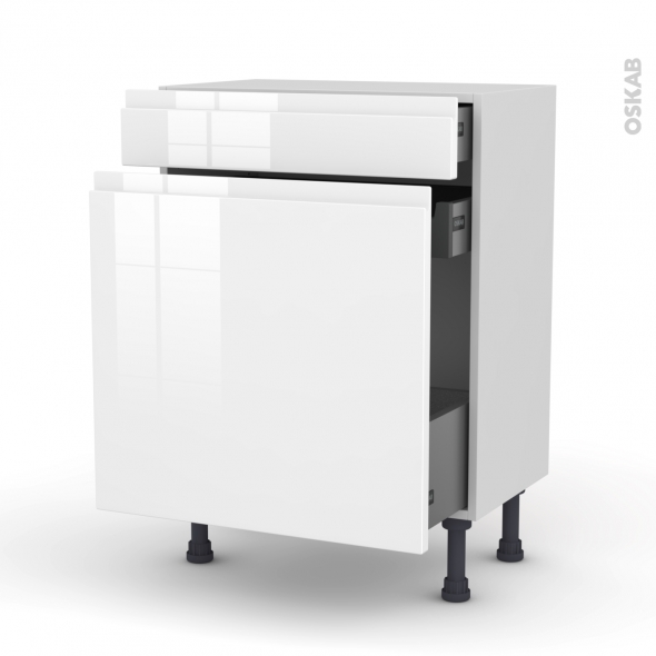Meuble de cuisine - Range épice - IPOMA Blanc brillant - 3 tiroirs - L60 x H70 x P37 cm