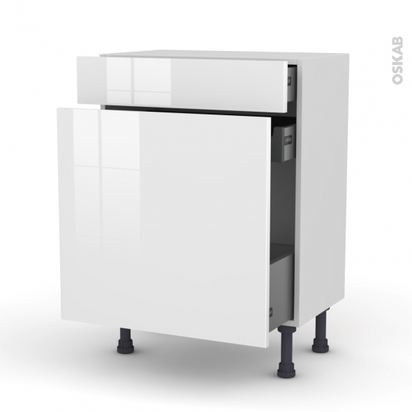 STECIA Blanc - Meuble range épice - 3 tiroirs - L60xH70xP37