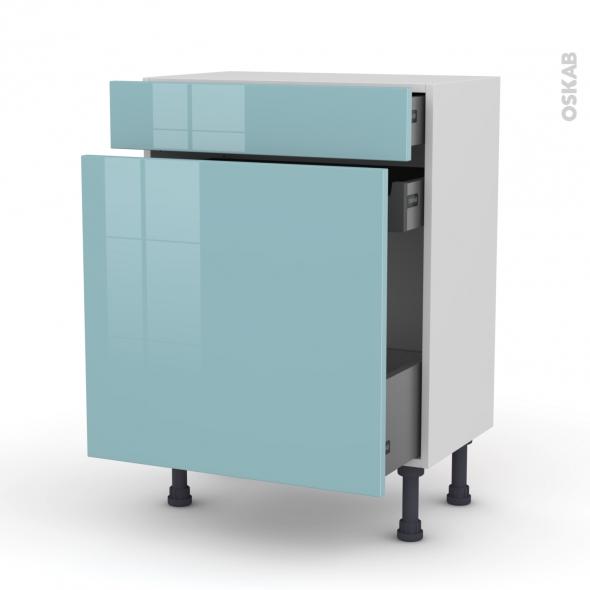 Meuble de cuisine - Range épice - KERIA Bleu - 3 tiroirs - L60 x H70 x P37 cm