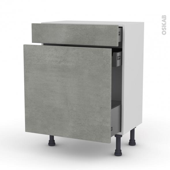 Meuble de cuisine - Range épice - FAKTO Béton - 3 tiroirs - L60 x H70 x P37 cm