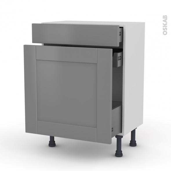Meuble de cuisine - Range épice - FILIPEN Gris - 3 tiroirs - L60 x H70 x P37 cm