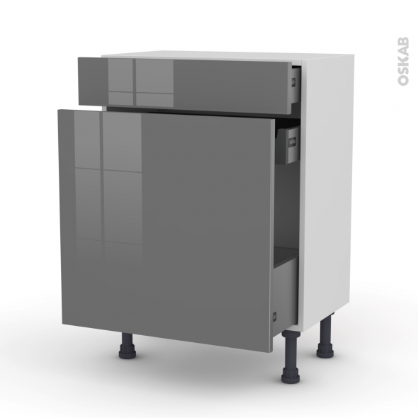 STECIA Gris - Meuble range épice - 3 tiroirs - L60xH70xP37