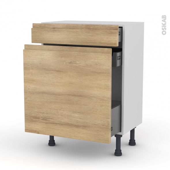 Meuble de cuisine - Range épice - IPOMA Chêne naturel - 3 tiroirs - L60 x H70 x P37 cm