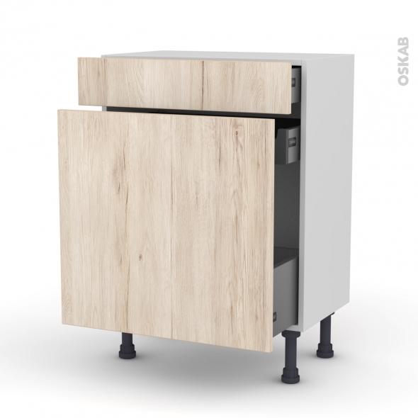 Meuble de cuisine - Range épice - IKORO Chêne clair - 3 tiroirs - L60 x H70 x P37 cm