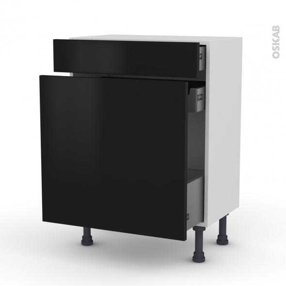 Meuble de cuisine - Range épice - GINKO Noir - 3 tiroirs - L60 x H70 x P37 cm