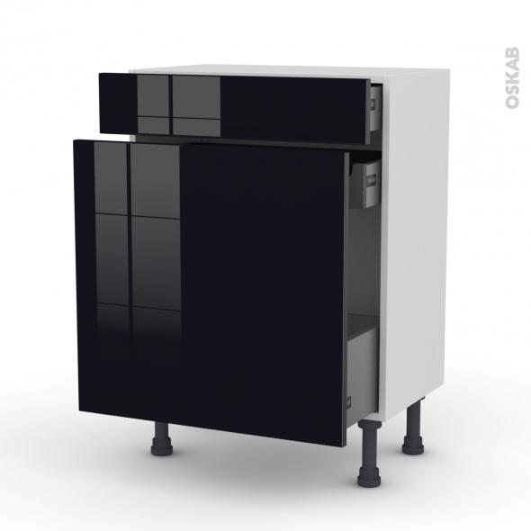 Meuble de cuisine - Range épice - KERIA Noir - 3 tiroirs - L60 x H70 x P37 cm