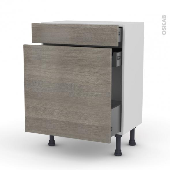 Meuble de cuisine - Range épice - STILO Noyer Naturel - 3 tiroirs - L60 x H70 x P37 cm