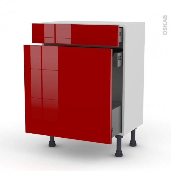 Meuble de cuisine - Range épice - STECIA Rouge - 3 tiroirs - L60 x H70 x P37 cm