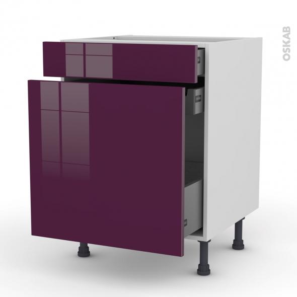 Meuble de cuisine - Range épice - KERIA Aubergine - 3 tiroirs - L60 x H70 x P58 cm