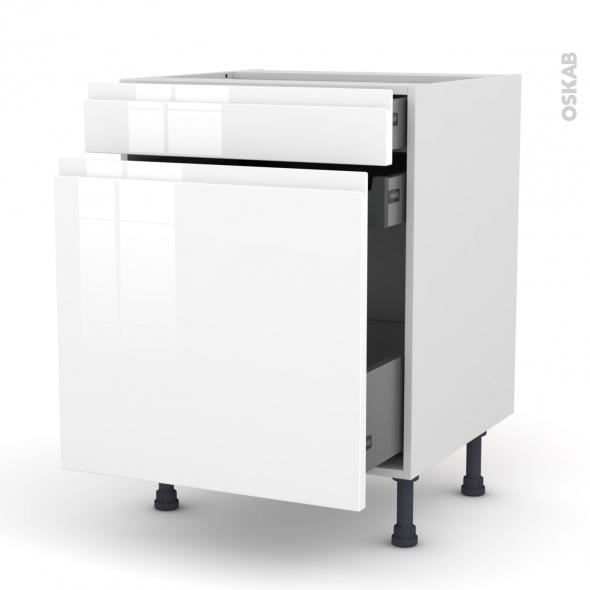 Meuble de cuisine - Range épice - IPOMA Blanc brillant - 3 tiroirs - L60 x H70 x P58 cm