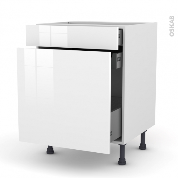 STECIA Blanc - Meuble range épice - 3 tiroirs - L60xH70xP58