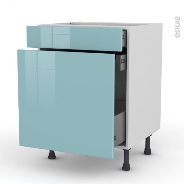 Meuble de cuisine - Range épice - KERIA Bleu - 3 tiroirs - L60 x H70 x P58 cm