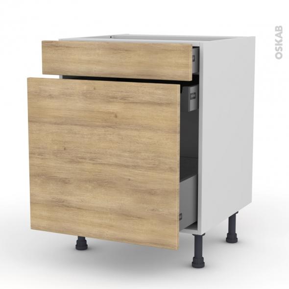 Meuble de cuisine - Range épice - HOSTA Chêne naturel - 3 tiroirs - L60 x H70 x P58 cm