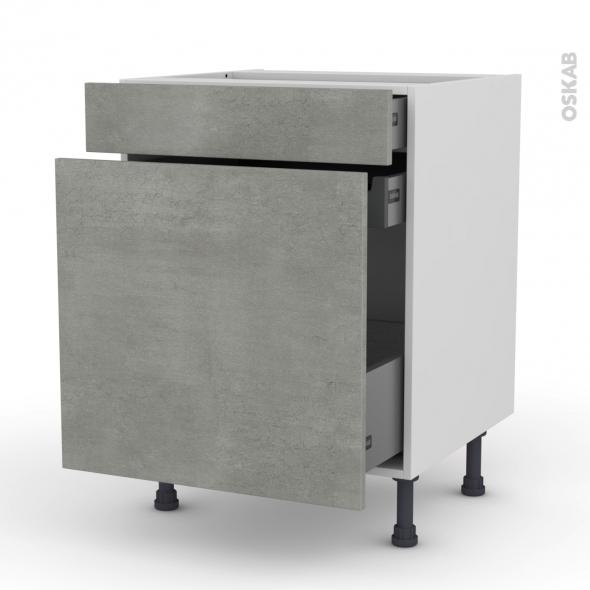Meuble de cuisine - Range épice - FAKTO Béton - 3 tiroirs - L60 x H70 x P58 cm