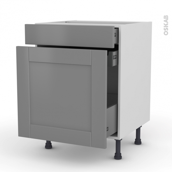 Meuble de cuisine - Range épice - FILIPEN Gris - 3 tiroirs - L60 x H70 x P58 cm