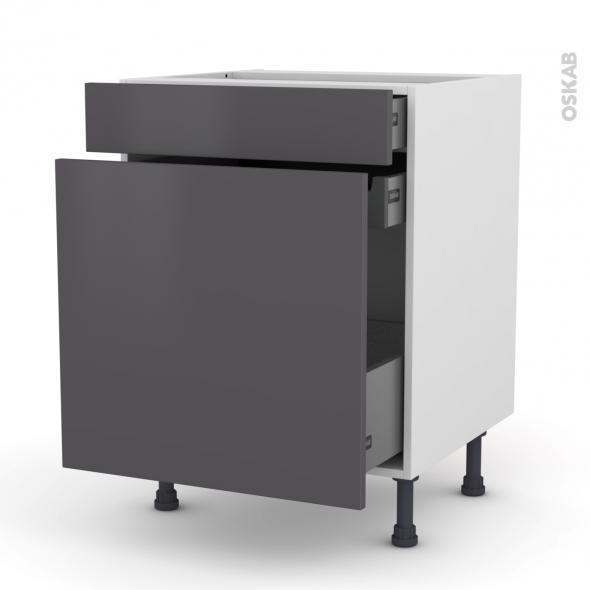 Meuble de cuisine - Range épice - GINKO Gris - 3 tiroirs - L60 x H70 x P58 cm