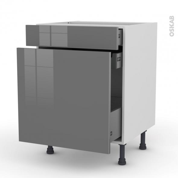 Meuble de cuisine - Range épice - STECIA Gris - 3 tiroirs - L60 x H70 x P58 cm