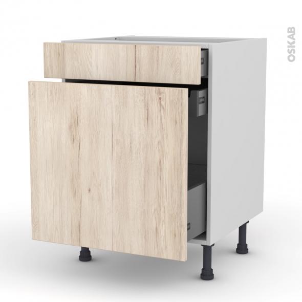 Meuble de cuisine - Range épice - IKORO Chêne clair - 3 tiroirs - L60 x H70 x P58 cm