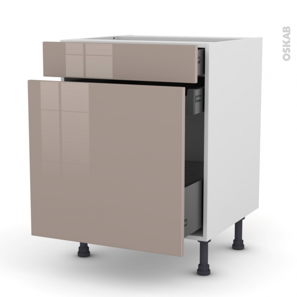 Meuble de cuisine - Range épice - KERIA Moka - 3 tiroirs - L60 x H70 x P58 cm