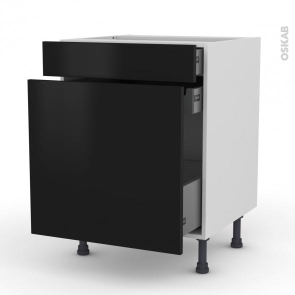 Meuble de cuisine - Range épice - GINKO Noir - 3 tiroirs - L60 x H70 x P58 cm