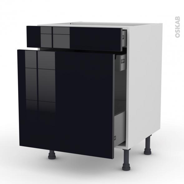 KERIA Noir - Meuble range épice - 3 tiroirs - L60xH70xP58