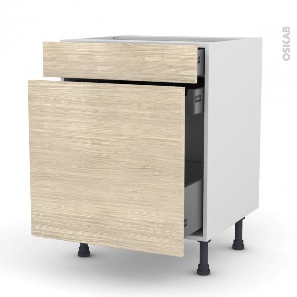 Meuble de cuisine - Range épice - STILO Noyer Blanchi - 3 tiroirs - L60 x H70 x P58 cm
