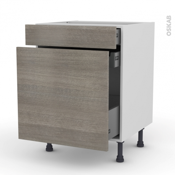 Meuble de cuisine - Range épice - STILO Noyer Naturel - 3 tiroirs - L60 x H70 x P58 cm