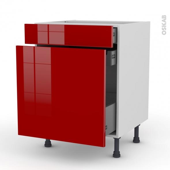 Meuble de cuisine - Range épice - STECIA Rouge - 3 tiroirs - L60 x H70 x P58 cm