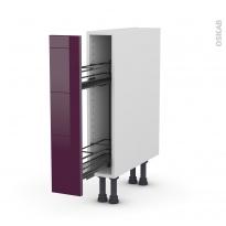 Meuble de cuisine - Range épice epoxy - KERIA Aubergine - 1 porte - L15 x H70 x P58 cm