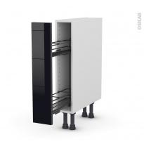 Meuble de cuisine - Range épice epoxy - KERIA Noir - 1 porte - L15 x H70 x P58 cm