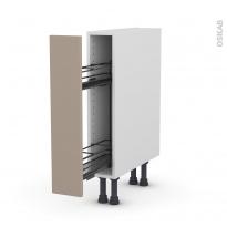 Meuble de cuisine - Range épice epoxy - GINKO Taupe - 1 porte - L15 x H70 x P58 cm