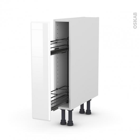 Meuble de cuisine - Range épice epoxy - IRIS Blanc - 1 porte - L15 x H70 x P58 cm