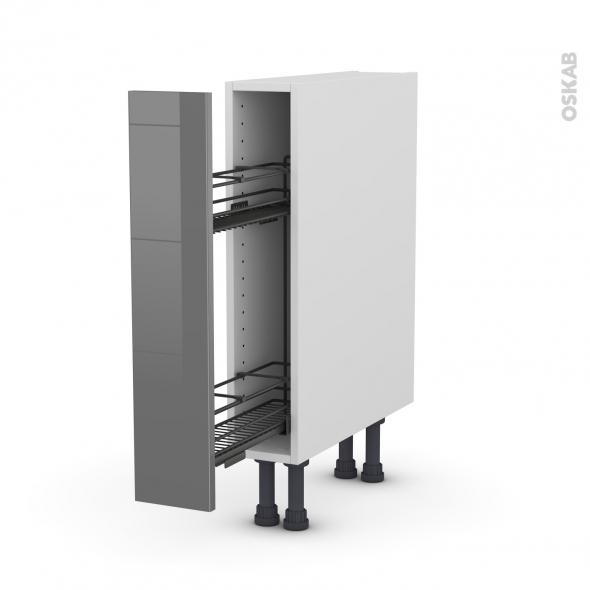 Meuble de cuisine - Range épice epoxy - STECIA Gris - 1 porte - L15 x H70 x P58 cm