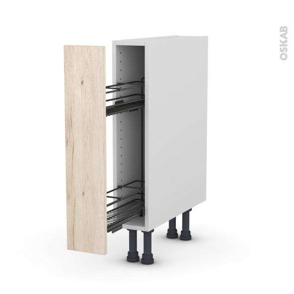 Meuble de cuisine - Range épice epoxy - IKORO Chêne clair - 1 porte - L15 x H70 x P58 cm