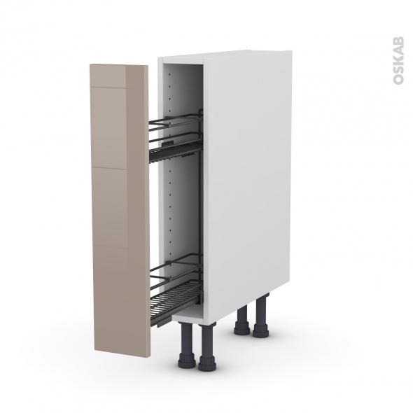 Meuble de cuisine - Range épice epoxy - KERIA Moka - 1 porte - L15 x H70 x P58 cm