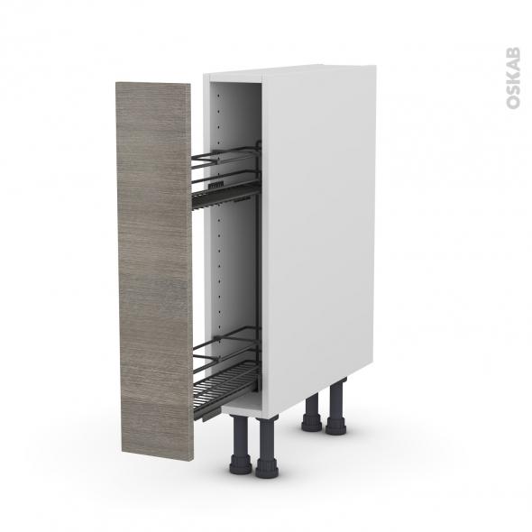 Meuble de cuisine - Range épice epoxy - STILO Noyer Naturel - 1 porte - L15 x H70 x P58 cm