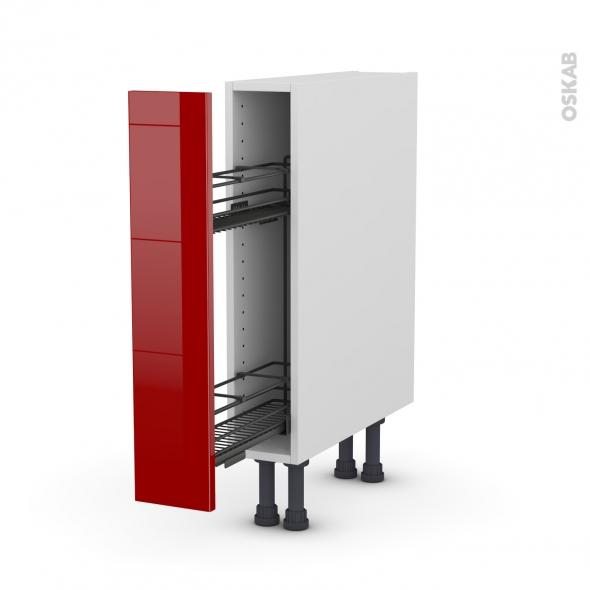 STECIA Rouge - Meuble range épice epoxy  - 1 porte - L15xH70xP58