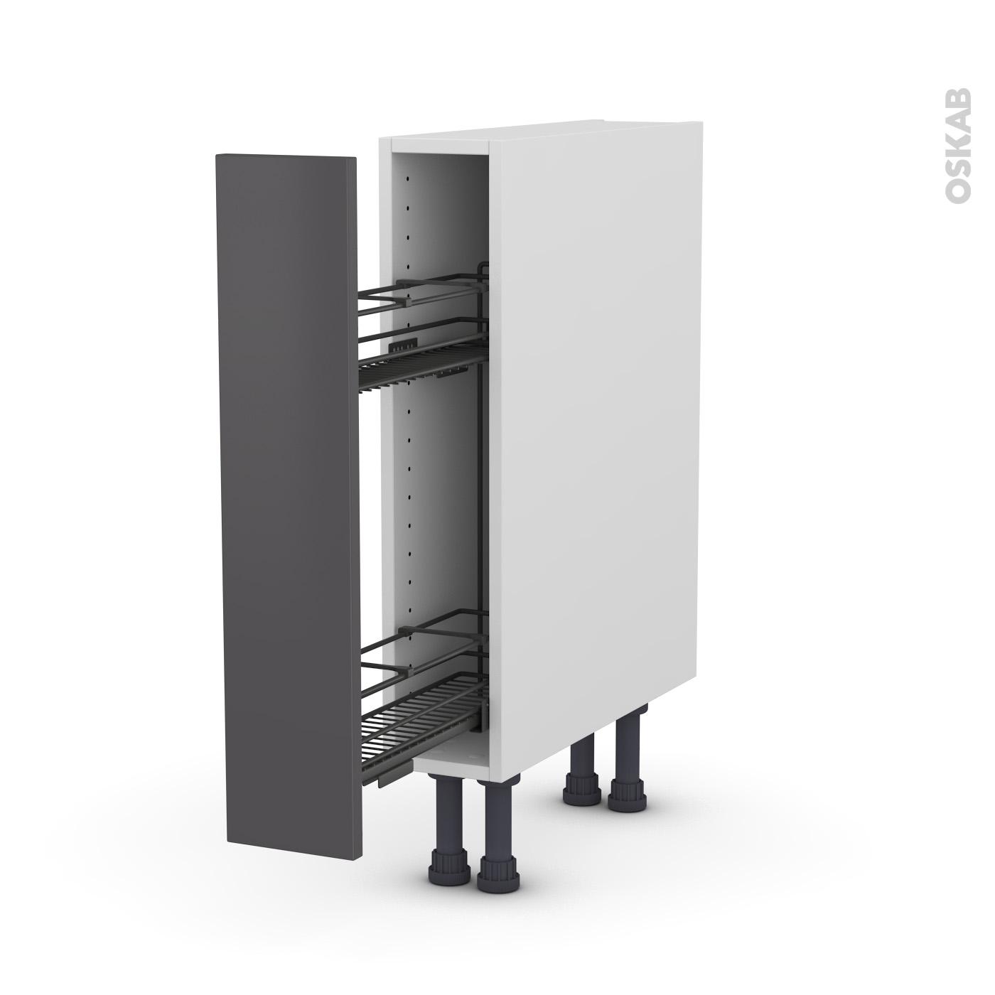 Meuble de cuisine Range épice epoxy GINKO Gris, 13 porte, L135 x H13 x P13 cm