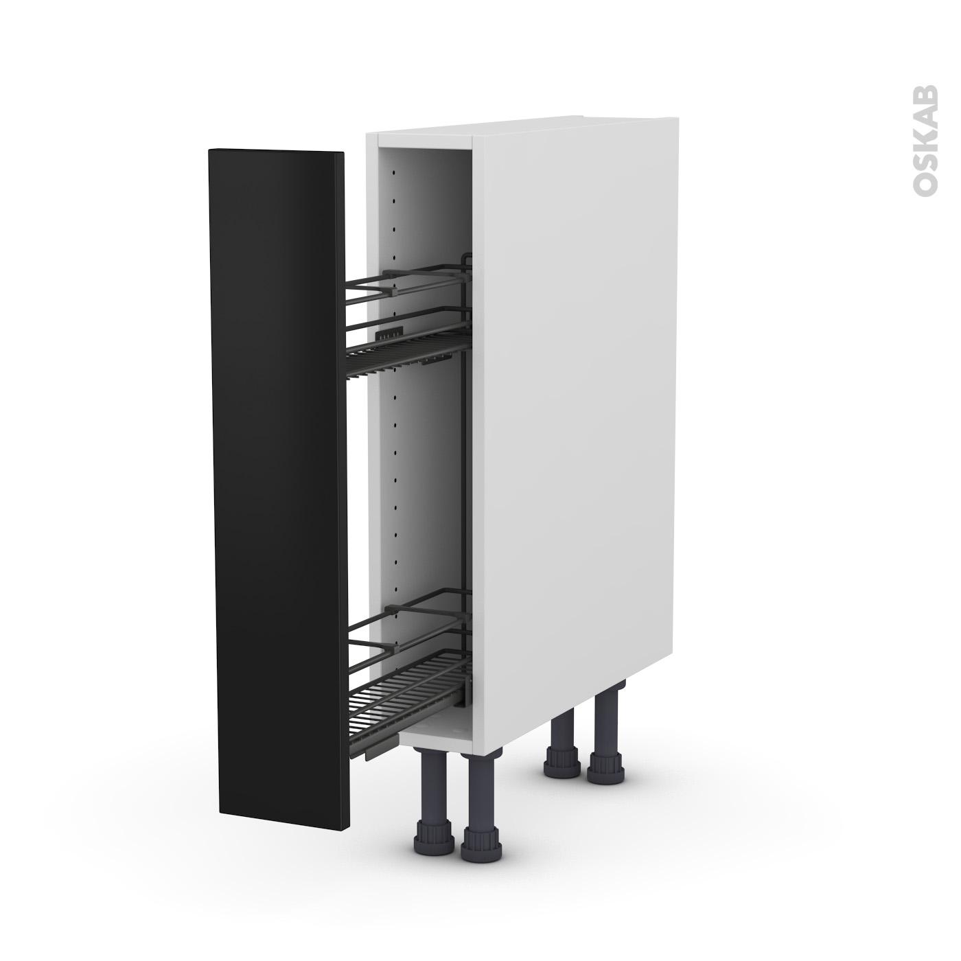 Meuble de cuisine Range épice epoxy GINKO Noir, 14 porte, L145 x H14 x P14 cm
