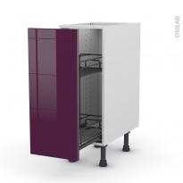 Meuble de cuisine - Range épice epoxy - KERIA Aubergine - 1 porte - L30 x H70 x P58 cm