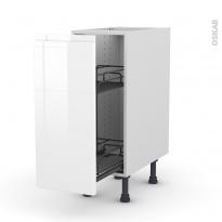 Meuble de cuisine - Range épice epoxy - IPOMA Blanc - 1 porte - L30 x H70 x P58 cm
