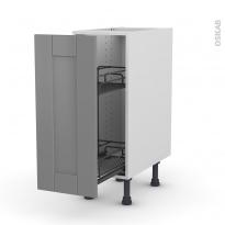 Meuble de cuisine - Range épice epoxy - FILIPEN Gris - 1 porte - L30 x H70 x P58 cm